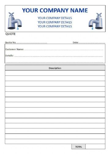 Plumbers NCR Quote Pads, 1 Column Lined